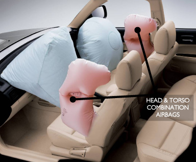 Head and torso combination airbags.  Picture supplied by Subaru Australia.