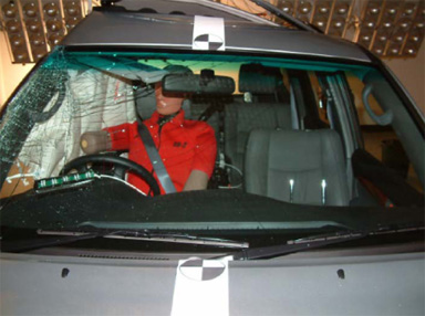 Vehicle cabin damage resulting from a pole test at 29km/h. Picture supplied by Crashlab