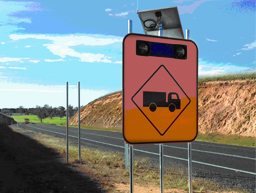 A radio controlled flashing smart sign on the Monaro Highway near Bombala.