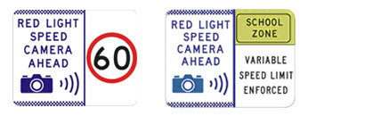 Signs: Red light speed camera ahead 60; Red light speed camera ahead school zone variable speed limit enforced